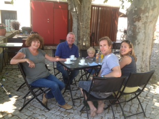 Sat around a table in Peniche with some friends