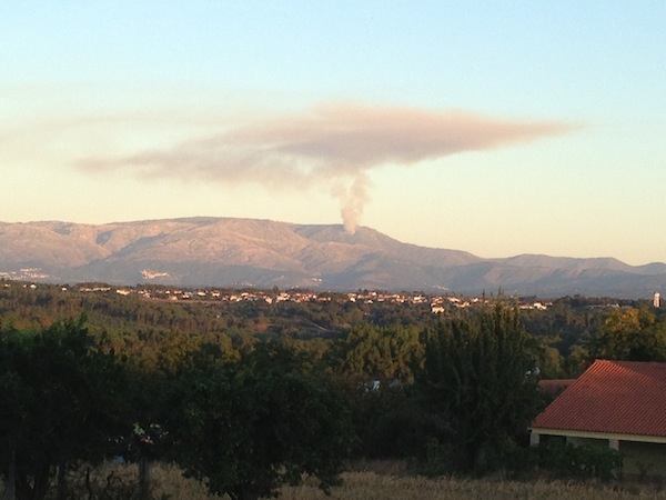 Smoke coming from a forest fire on the Serra da Estrela