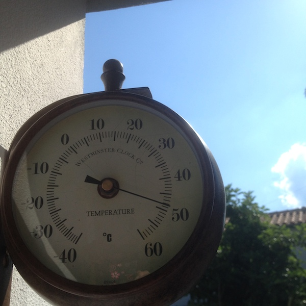 An outside thermometer showing that it is almost 50c