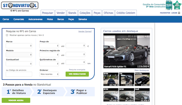 The recommended website for car searching in Portugal