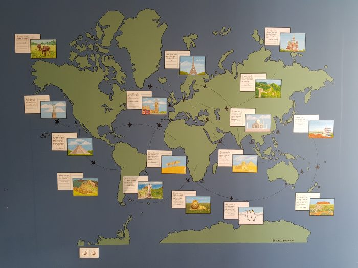 World map in the hostel